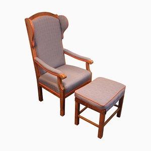 Antiker Biedermeier Sessel und Fußhocker Set