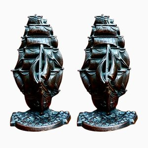 Antique Bronze Cutty Sark Bookends, Set of 2