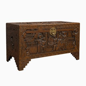 Vintage Art Deco Oriental Carved Camphorwood Decorative Chest, 1940s