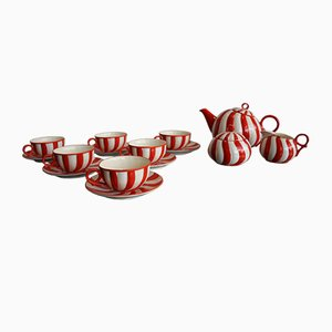 Art Deco Czech Ceramic Tea Set, 1920s, Set of 15