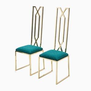 Messing Stühle von Alain Delon für Jean Charles, 1970er, 2er Set