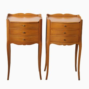Louis XV Style Cherrywood Nightstands, 1950s, Set of 2