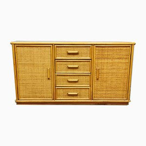 Vintage Hollywood Regency Style Bamboo Rattan Sideboard, 1970s