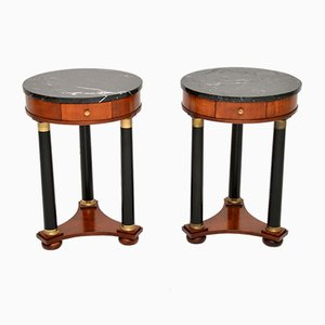 Biedermeier Style Marble Top Side Tables, 1960s, Set of 2