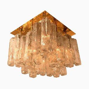 Austrian Glass & Brass Granada Ceiling Lamp by J.T. Kalmar, 1960s