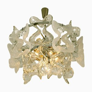 Murano Glass & Chrome Catena Chandelier by J.T. Kalmar, 1970s