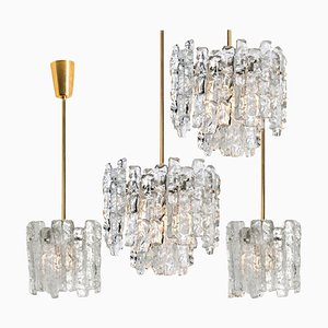 Modern Ice Glass & Brass Pendant Lamp by J.T. Kalmar, 1960s