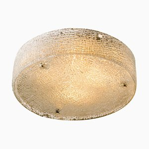Large Textured Glass Ceiling Lamp by Glashütte Limburg, 1960s