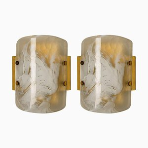 Austrian Murano Glass & Brass Sconces by J.T. Kalmar, 1960s, Set of 2