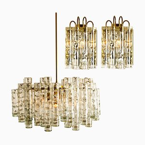 Brass Wall Lights & Chandelier by Doria Leuchten Germany, 1960s, Set of 3