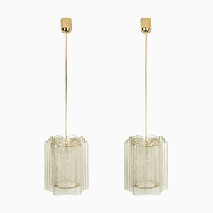 Art Deco Style Glass & Brass Pendant Lamps by Doria Leuchten Germany for Tracie, 1960s, Set of 2