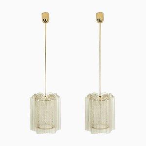 Lampes à Suspension Art Déco en Laiton et Verre par Doria Leuchten Germany pour Tracie, 1960s, Set de 2