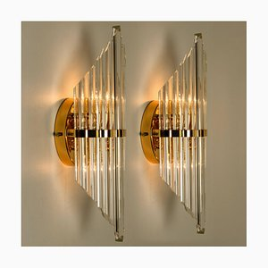 Large Murano Glass and Gold-Plated Sconces in the Style of Venini, 1970s, Set of 2