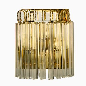 Italian Murano Glass and Gilt Brass Sconce in the Style of Venini, 1970s