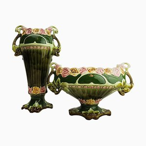 Art Nouveau Twin Handled Majolica Vases, 1920s, Set of 2