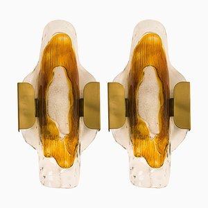 Mundgeblasene Murano Glas Wandlampen von JT Kalmar, 1970er, 2er Set