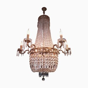 Italian Gilt Bronze and Cut-Glass Empire Style Chandelier, 1990s