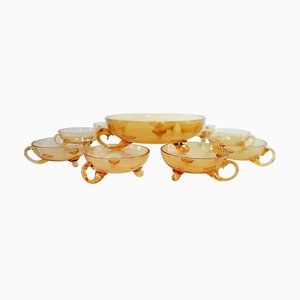 Venetian Amber Murano Glass Bowl and Cups Set, 1920s, Set of 9