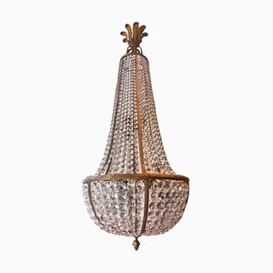 Large Antique French Empire Bronze and Cut-Glass Chandelier