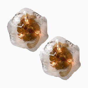 Franken Brown and Clear Flush Mounts Wall Light by J.T. Kalmar, 1960s