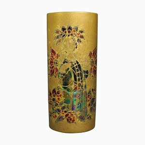 Hand-Painted Gilded Vase by Bjørn Wiinblad for Rosenthal, 1960s