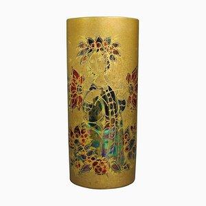 Hand-Painted Gilded Vase by Bjørn Wiinblad for Rosenthal, 1960s