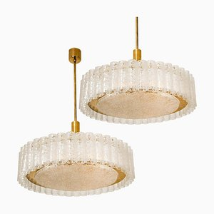 Large Glass & Brass Light Fixtures by Doria Leuchten Germany, 1960s, Set of 2
