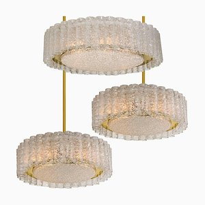 Glass & Brass Ceiling Lamps & Chandelier by Doria Leuchten Germany, 1960s, Set of 3