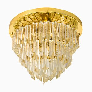 Italian Four-Tiered Murano Astra Quadrilobo Crystal Chandelier by Venini, 1960s