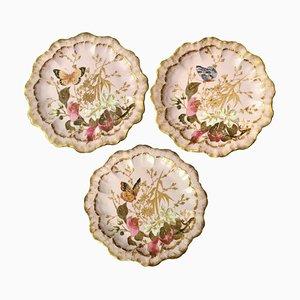 Assiettes Papillon & Florales Antiques Peintes à la Main Rose par Guerin, 1889, Set de 3