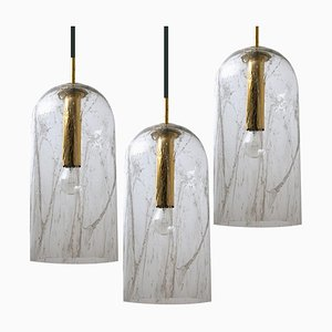 Textured Glass Pendant Lamps by Doria Leuchten Germany, 1969