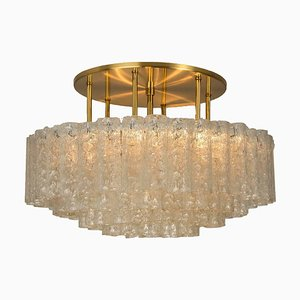 Large Glass & Brass Light Fixture by Doria Leuchten Germany, 1960s