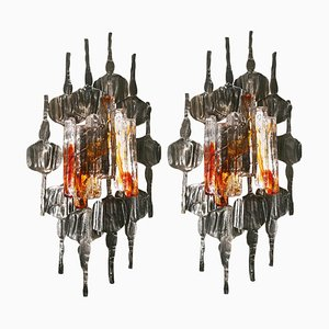 Swedish Large Brutalist Wall Sconces by Tom Ahlström, 1960s, Set of 2