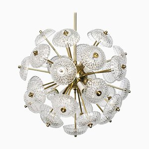 Large Brass and Glass Sputnik Chandelier in the Style of Emil Stejnar, 1960s