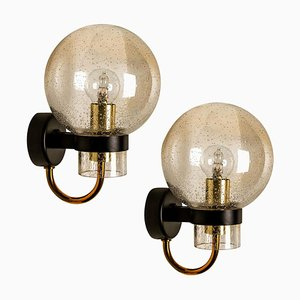 Blown Glass, Brass and Black Wall Lights by Glashütte Limburg, 1960s, Set of 2