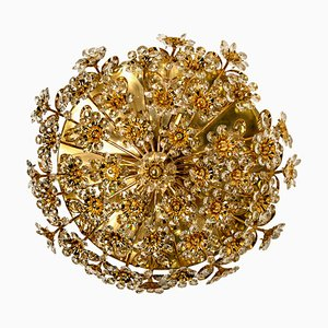Gold-Plated Flower Wall Light by Palwa, 1960s
