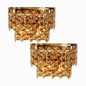 German Gilded Brass and Crystal Glass Sconces by Palwa, 1960s, Set of 2