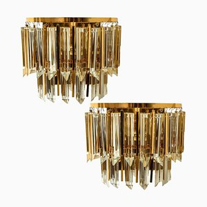 Austrian Murano Glass & Brass Sconces by Palwa, 1960s, Set of 2