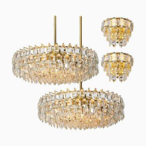 Austrian Brass and Crystal Glass Chandeliers by Bakalowits & Söhne, 1960s, Set of 4