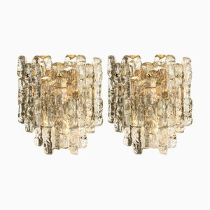 Austrian Ice Glass Wall Sconces by J.T. Kalmar, 1960s, Set of 2