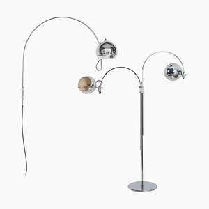 Dutch Chrome Double Eye-Ball Floor Lamps by Gebroeders Posthuma, 1960s, Set of 2