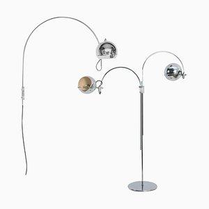Niederländische Chrom Stehlampen in Augen-Optik von Gebroeders Posthuma, 1960er, 2er Set
