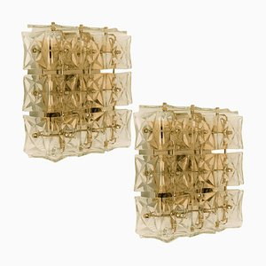 Brass & Crystal Glass Wall Lights by Kinkeldey, 1970s, Set of 2
