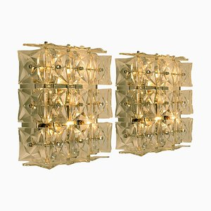 Nickel Crystal Glass Wall Lights by Kinkeldey, 1970s, Set of 2