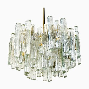 Large Three-Tiered Ice Glass Chandelier by Kalmar Lighting, 1970s