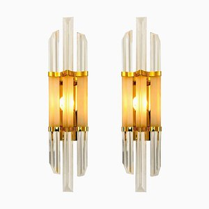 Italian Murano Glass and Brass Sconces in the Style of Venini, 1970s, Set of 2