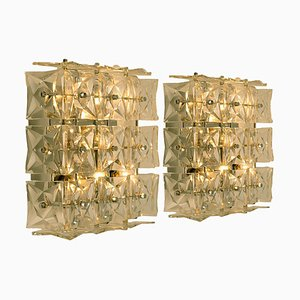 Nickel Crystal Glass Sconces by Kinkeldey, 1970s, Set of 2