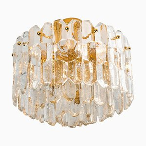 Large Gilt Brass and Glass Palazzo Ceiling Lamp by J.T. Kalmar, 1960s