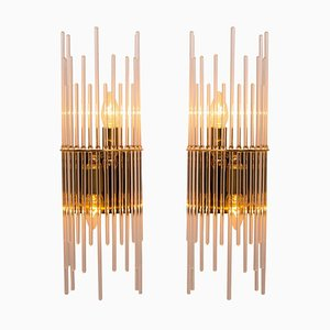 Modern Glass Rod Waterfall Wall Sconces by Gaetano Sciolari, 1970s, Set of 2