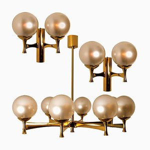 Opaline Brass Light Fixtures in the Style of Sciolari, 1960s, Set of 3